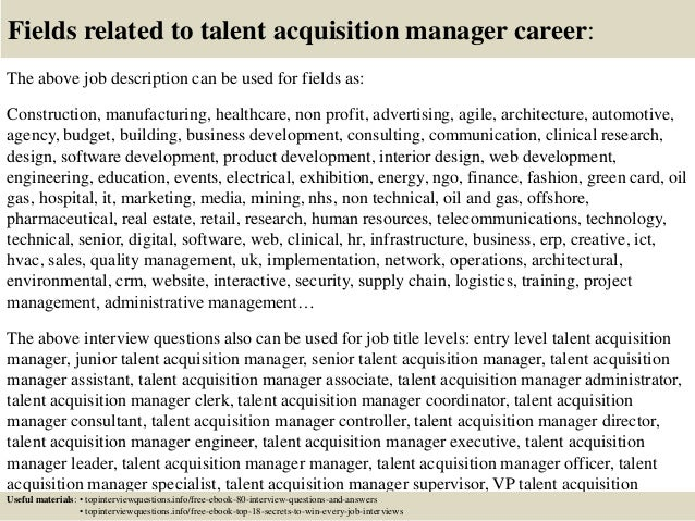 17 fields related to talent acquisition manager - Talent Acquisition Manager