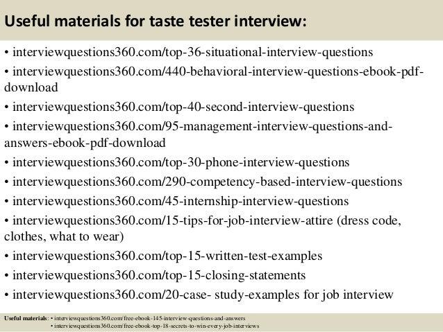 ... 13. Useful Materials For Taste Tester ...