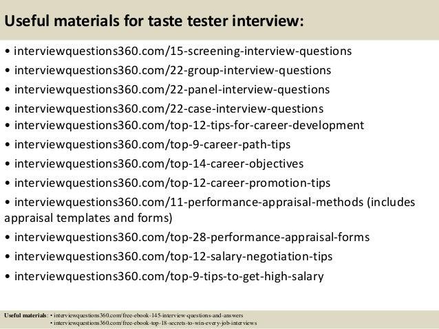 ... 16. Useful Materials For Taste Tester ...