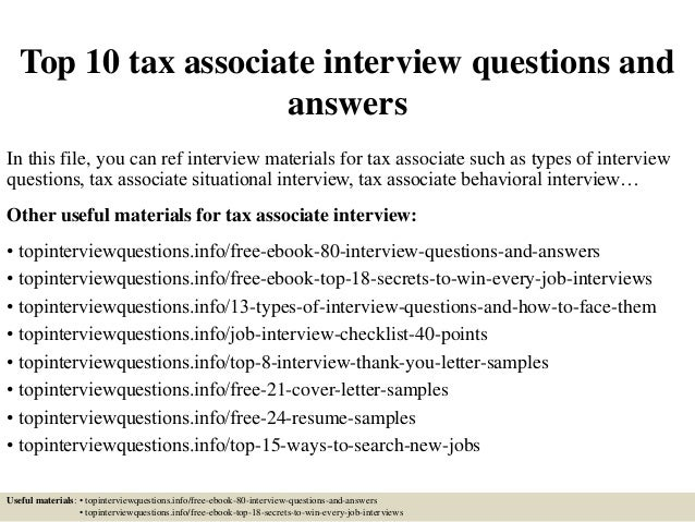 Top 10 tax associate interview questions and answers