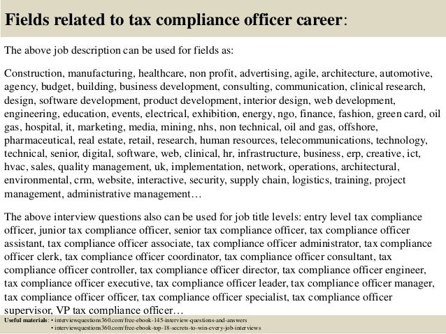 Top 10 tax compliance officer interview questions and answers - Compliance officer job description healthcare ...