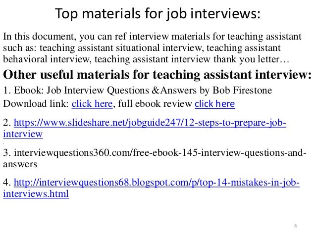 Top 36 teaching assistant interview questions and answers