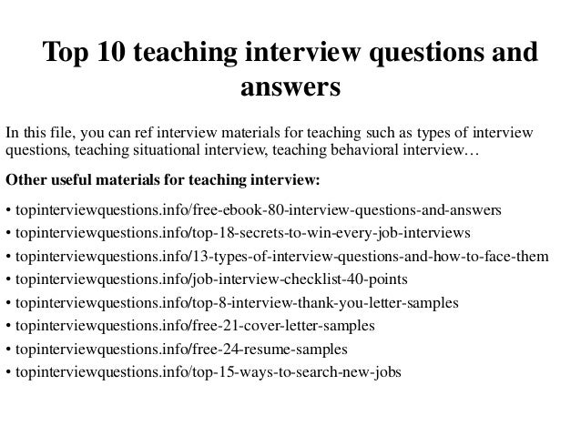 Top 10 teaching interview questions and answers