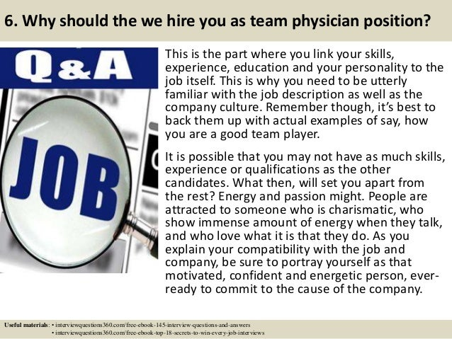 Top 10 team physician interview questions and answers