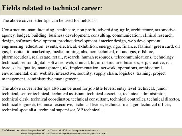 ... 16. Fields Related To Technical Career: The Above Cover Letter ...