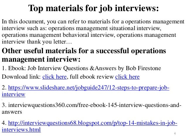 behavioral interview questions for operations manager