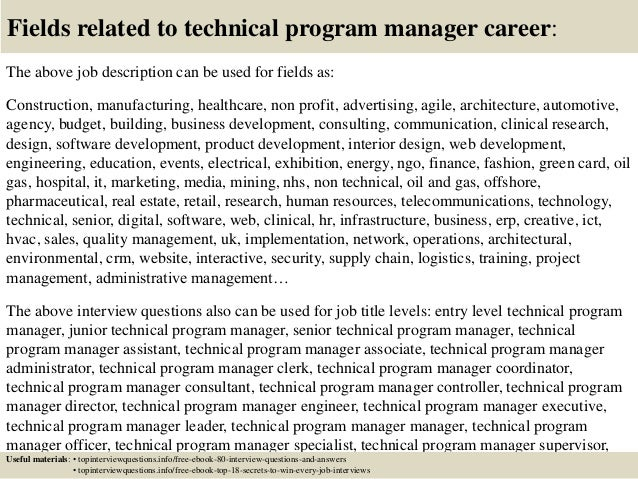 Top 10 technical program manager interview questions and answers