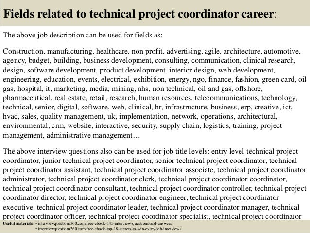 top 10 technical project coordinator interview questions