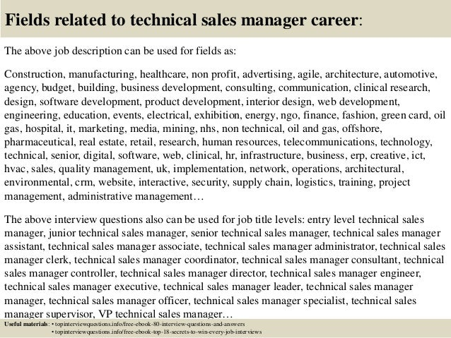 Top 10 technical sales manager interview questions and answers
