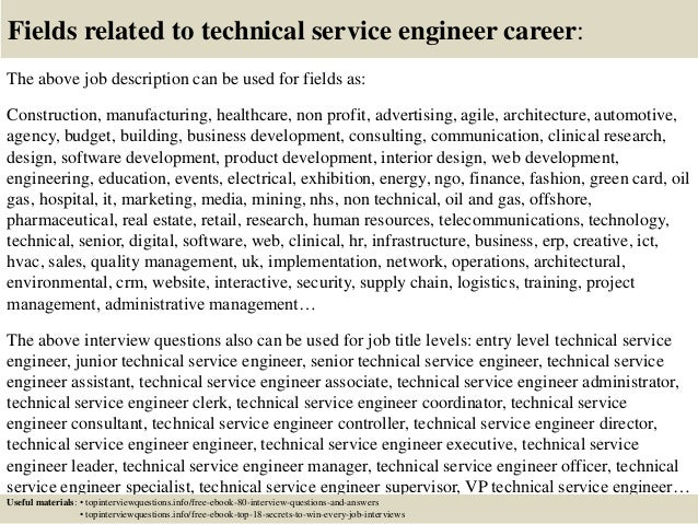 Top 10 technical service engineer interview questions and answers – Technical Engineer Job Description