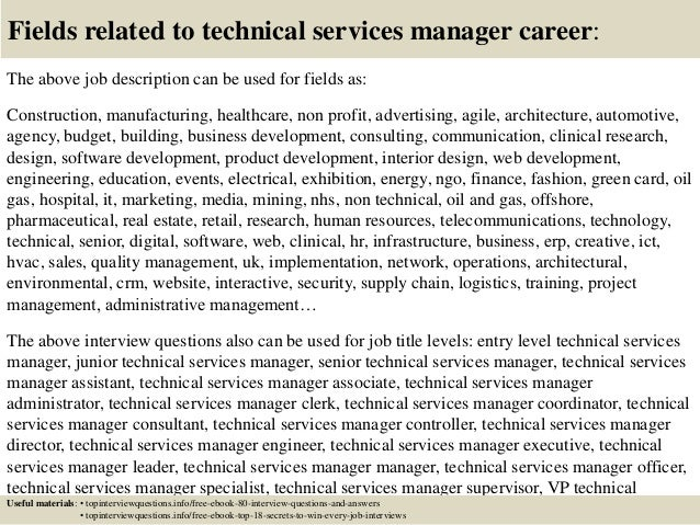 Customer Service Manager Job Description | Top 10 Technical Services Manager Interview Questions And Answers
