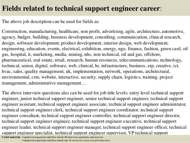 17 fields related to technical support engineer career the above job description