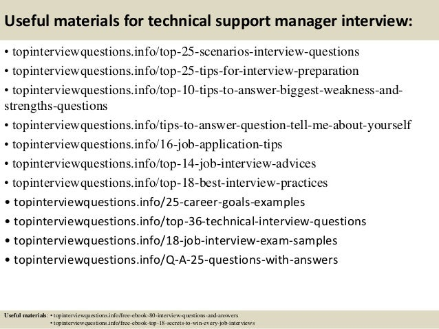 interview questions for technical support