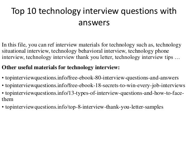 Top 10 technology interview questions with answers