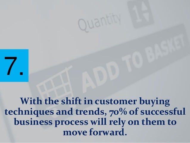 7. With the shift in customer buying techniques and trends, 70% of successful business process will rely on them to move f...