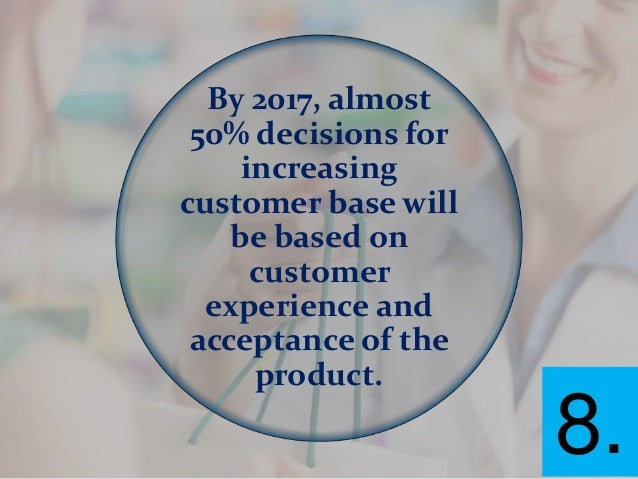 By 2017, almost 50% decisions for increasing customer base will be based on customer experience and acceptance of the prod...