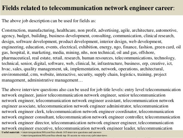Delightful ... 18. Fields Related To Telecommunication Network Engineer Career: The  Above Job Description ...