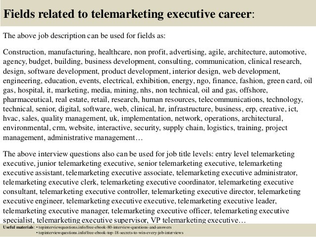 Top  Telemarketing Executive Interview Questions And Answers