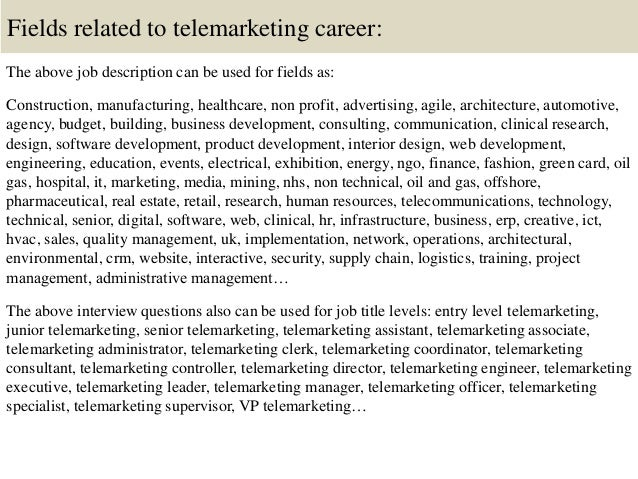 16. Fields Related To Telemarketing Career: The Above Job Description ...