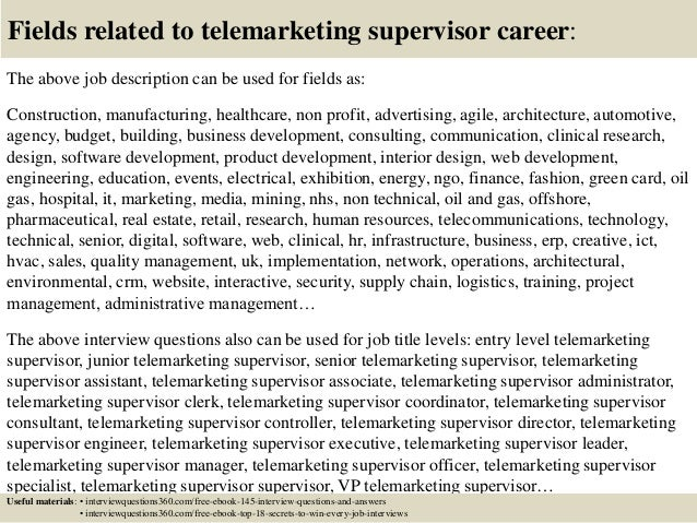 Top 10 telemarketing supervisor interview questions and answers