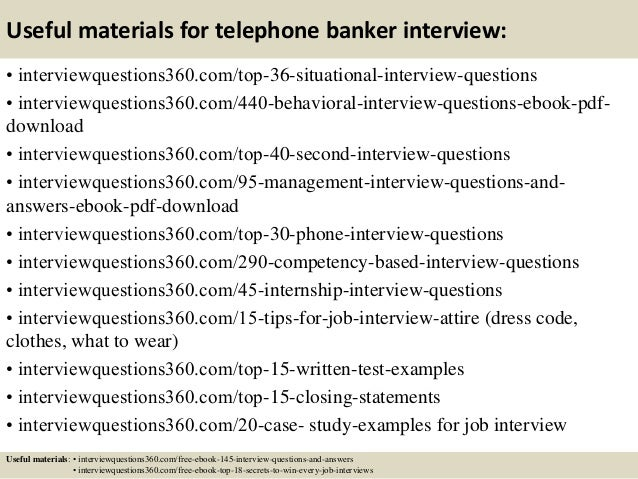 13 Useful Materials For Telephone Banker Interview