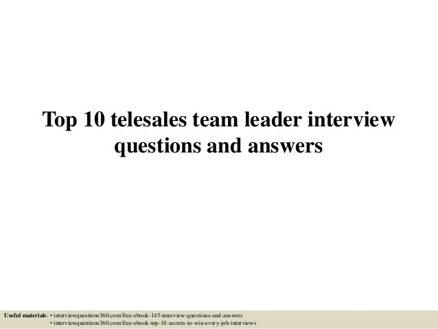 team leader interview