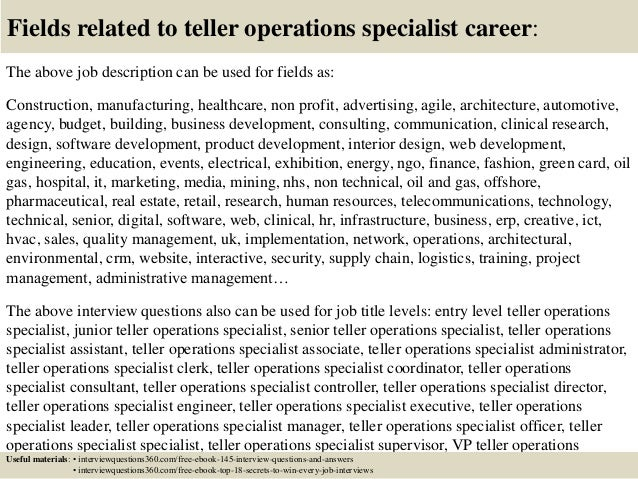 Top  Teller Operations Specialist Interview Questions And Answers
