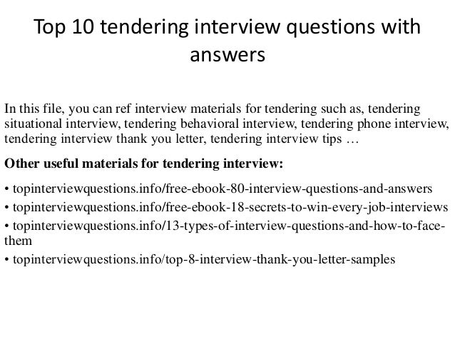 Top 10 tendering interview questions with answers