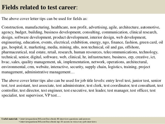 ... 16. Fields Related To Test Career: The Above Cover Letter ...