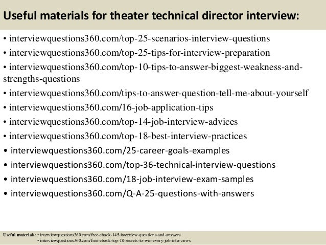 Exceptional ... 14. Useful Materials For Theater Technical Director ...