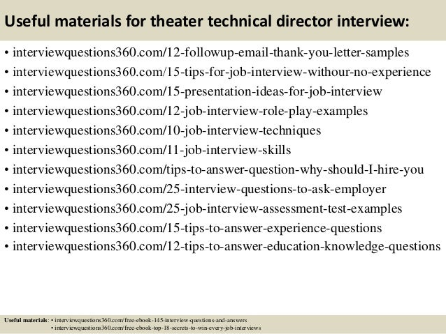 ... 15. Useful Materials For Theater Technical Director ...