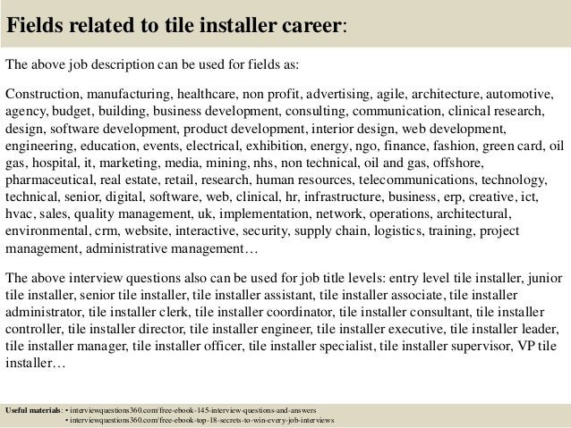 Top 10 tile installer interview questions and answers