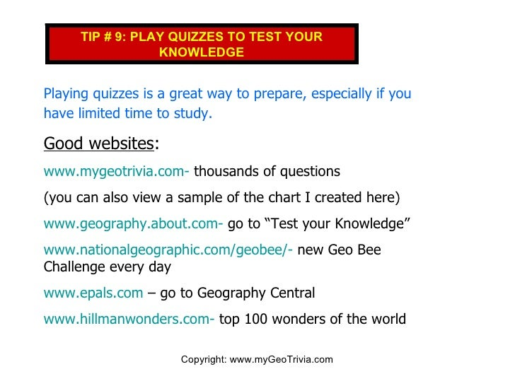Top Ten Tips for National Geographic Bee