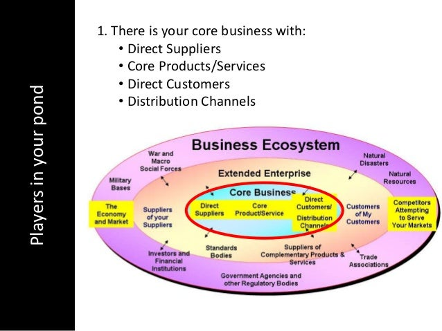 Playersinyourpond 1. There is your core business with:• Direct Suppliers• Core Products/Services• Direct Customers• Distri...