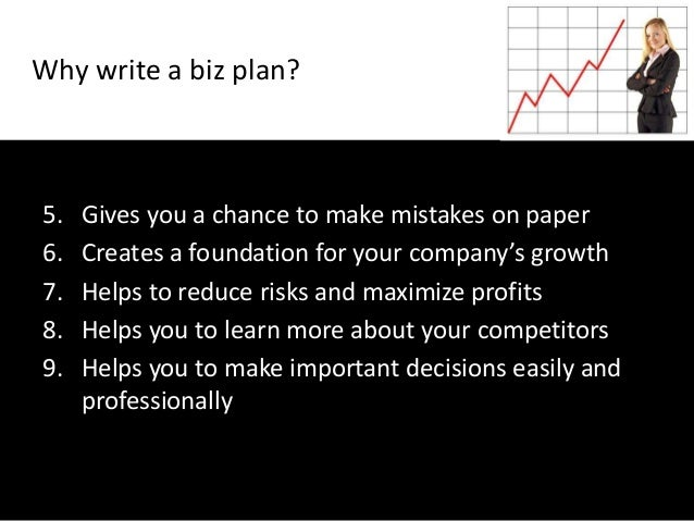 5. Gives you a chance to make mistakes on paper6. Creates a foundation for your company's growth7. Helps to reduce risks a...