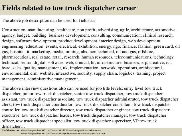 Good ... 18. Fields Related To Tow Truck Dispatcher Career: The Above Job  Description ...  Dispatcher Job Description