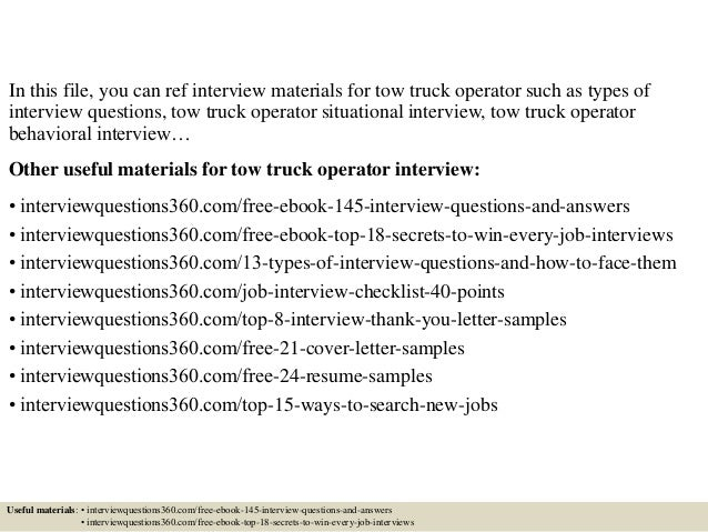 Top 10 tow truck operator interview questions and answers