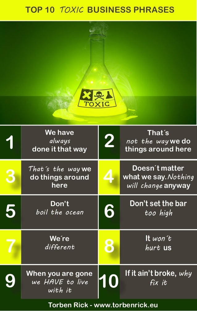 We have always done it that way TOP 10 TOXIC BUSINESS PHRASES That´s not the way we do things around here That´s the way w...