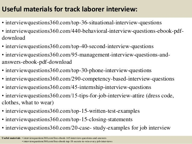 Top 10 track laborer interview questions and answers