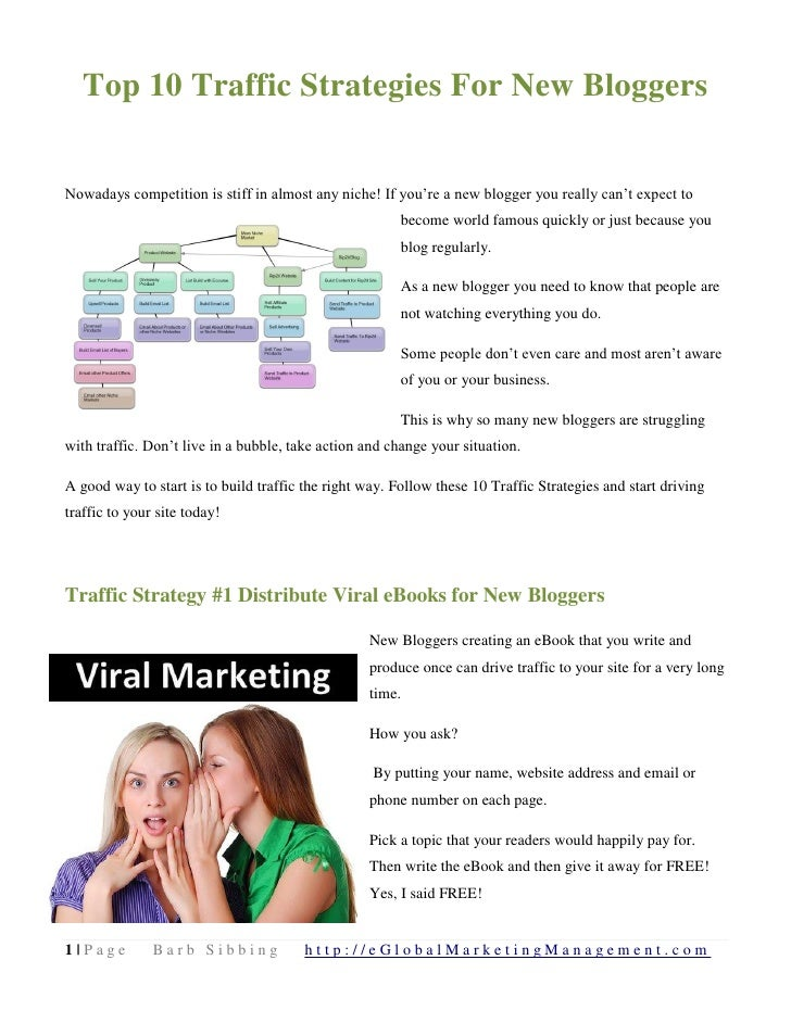 Top 10 Traffic Strategies For New BloggersNowadays competition is stiff in almost any niche! If you're a new blogger you r...