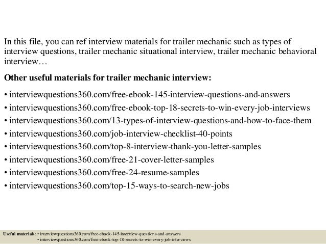 ... 2. In This File, You Can Ref Interview Materials For Trailer Mechanic  ...