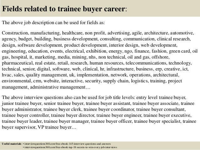 top 10 trainee buyer interview questions and answers