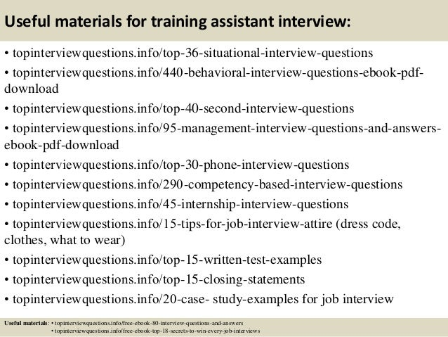 Top 10 training assistant interview questions and answers