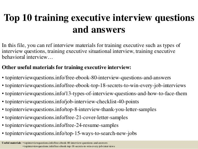 Top 10 Training Executive Interview Questions And Answers