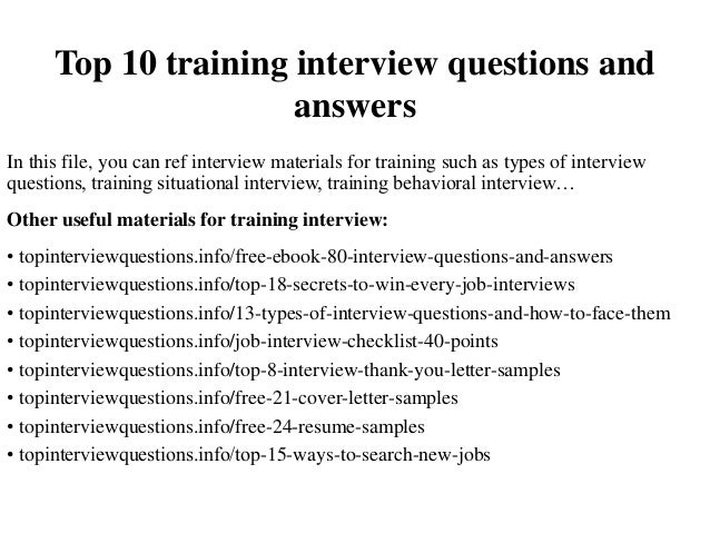 Top 10 training interview questions and answers