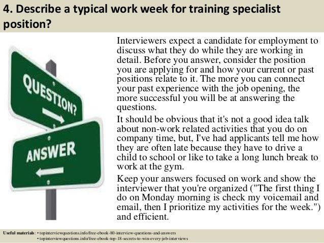 Top 10 training specialist interview questions and answers