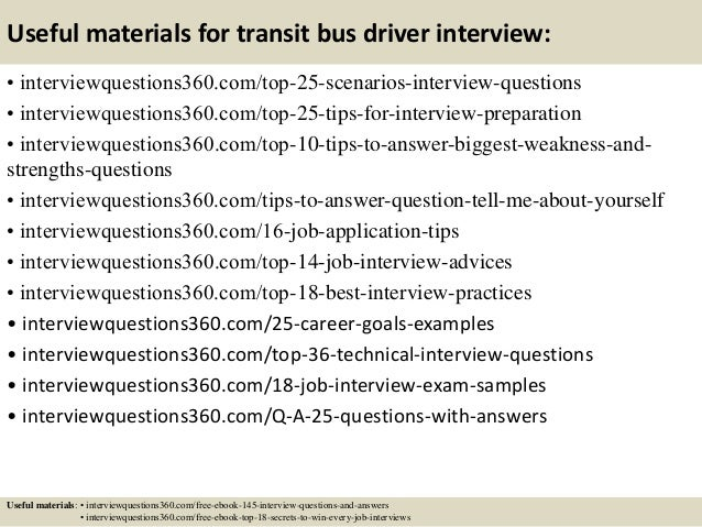 Good Bus Driver Job Interview Questions And Answers