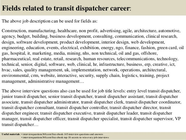 Lovely ... 18. Fields Related To Transit Dispatcher Career: The Above Job  Description ...