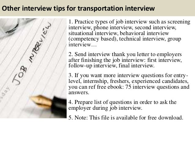 Beautiful ... 15. Other Interview Tips For Transportation ...