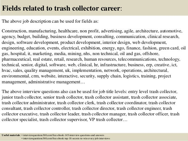 Top 10 trash collector interview questions and answers